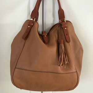 J Crew large leather bag, new